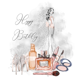 Snappyscrappy Birthday Card Birthday For-her, Female, Woman, Glamour, Perfume, Make-up, teenager, Shoes personalised online greeting card