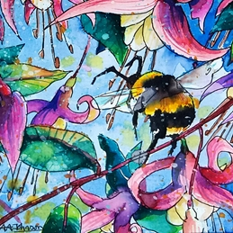 art fuschai, bees, honey bee, bees, love, valentine, thinking of you, for her, watercolours, illustrations, children birthday, personalised online greeting card