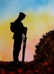 art artwork  ww2 war soldier poppies sunset  for-him  personalised online greeting card