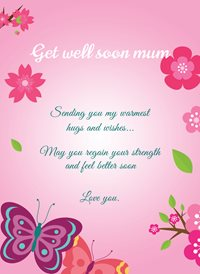 Frontloader Cards Get Well soon Card well Pink Girl Lady mum z%a personalised online greeting card