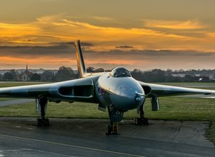 Chappers Photography Avro Vulcan sunset Photography Vulcan, sunset, aeroplane, airplane, plane, avro, cold war, bomber personalised online greeting card