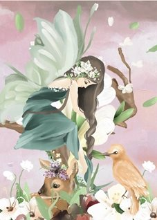 General fairy flowers tree fantasy personalised online greeting card