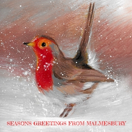 Christmas Malmesbury Robin painting artwork Christmas greeting  personalised online greeting card