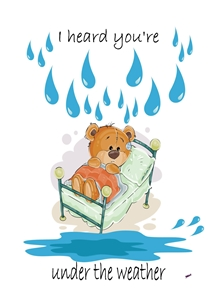 Her Nibs  Under the weather 4 Well For Him For Her For Children Teddy Bed Raindrops Puddle brown white blue  personalised online greeting card
