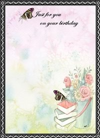 Birthday Butterflies Flowers bucket books blue pink happy  personalised online greeting card