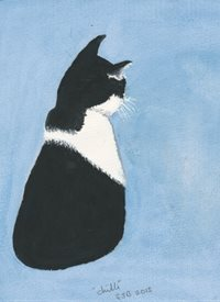 Art Tuxedo black and white cat on blue background  personalised online greeting card
