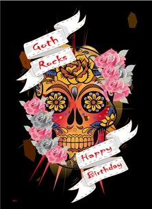 Birthday Gothic Skull Flowers Black Orange Red Blue Green Grey  personalised online greeting card