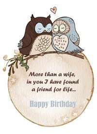 Birthday  Owls hearts wife animals z%a personalised online greeting card