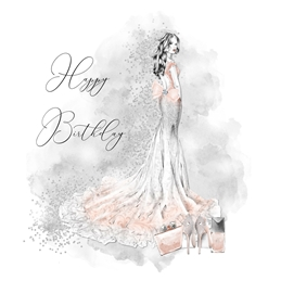 Birthday For-her, Female, Woman, girl, Glamour personalised online greeting card