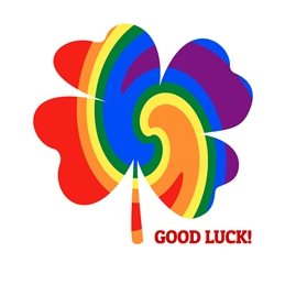 good luck  general GOOD LUCK LGBT+ gay rainbow shamrock four leaf clover luck bright colourful happy for-him for-her for-child personalised online greeting card