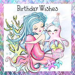Birthday children MERMAIDS BIRTHDAY children KIDS personalised online greeting card