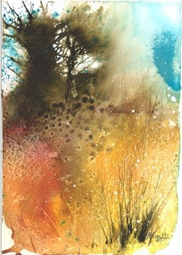 tree, harvest, field, orange, blue, contemporary, landscape, watercolour personalised online greeting card