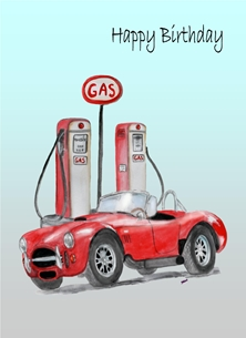 Birthday For Him Gas Pump Cobra Car Retro Red  personalised online greeting card