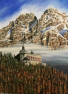 Art By Three  Werfen Austria Castle In the Clouds fine art mountains trees castle Austria clouds general blank all occasions for-him for-her  nature Alps personalised online greeting card