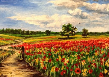 Art poppies red countryside landscapes art blank general all occasions for-him for-her mums nans aunts sisters  summer flowers fineart meadows trees sky blue grasses fields clouds nature remembrance  personalised online greeting card