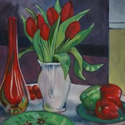 Mary Dodd Art Red Tulips Still Life Art Red tulips red peppers green plate art artist card  personalised online greeting card