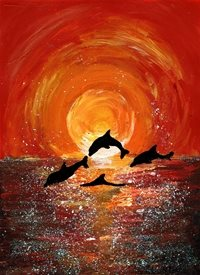 General Dolphins, sunset, seascape, marine life, ocean, sea, sea-life, wildlife, orange, children's, mums, dads, daughters, sisters, brothers, birthday,for him, for her, holiday, vacation, summer personalised online greeting card