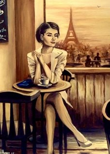 Art By Three  Composure Art General eiffel Tower Paris France woman bars cafes for-him for-her  coffees tables chairs love romance hers girlfriends oils  general blank all occasions art  personalised online greeting card