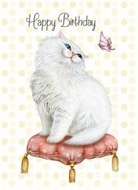 Snappyscrappy Happy Birthday Card Birthday Persian, Cat personalised online greeting card