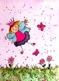 Children artwork fairy  funny  magic for-children personalised online greeting card