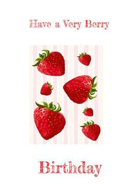 Birthday strawberry, strawberries, red, pink, white, stripes, berries, berry personalised online greeting card