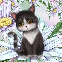 General birthday floral flowers cats GENERAL personalised online greeting card
