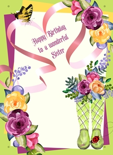 Birthday For Her Flowers Boots Ladybird Green Purple Yellow  personalised online greeting card