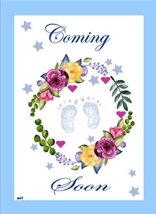 baby Baby Boy Feet Garland Flowers Hearts Stars Blue Purple Yellow White for -her mum to be Wholesale personalised online greeting card