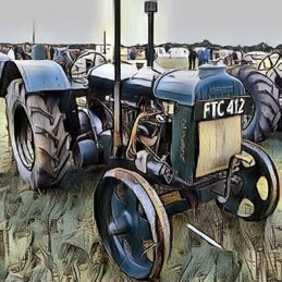 General Tractor. vintage. blue, old, grass, field, wheels, metal, cumbria, lake district birthday personalised online greeting card