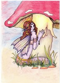artistic fairy, fantasy, mushroom, hand drawn birthday personalised online greeting card