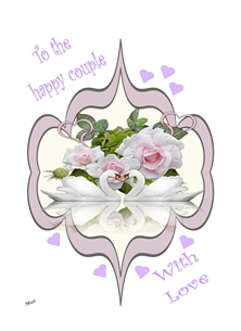 Wedding Wedding Unisex Flowers Swans Hearts Frame Purple White Wholesale personalised online greeting card