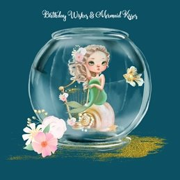 Snappyscrappy Birthday Card - Cards for Children Birthday Mermaid, Fantasy, Girl personalised online greeting card
