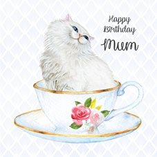 Birthday Cat, Persian, Teacup animals personalised online greeting card