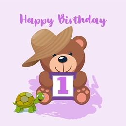 Her Nibs  Birthday Teddy 1 Hat,Turtle,Purple, personalised online greeting card