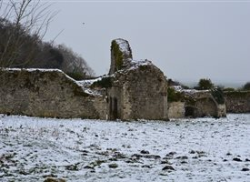 Photography Quarr ruins snow winter greetings cold personalised online greeting card