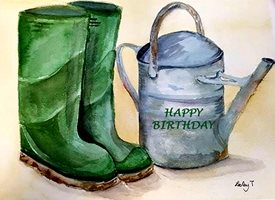 Birthday wellies  gardening  z%a personalised online greeting card