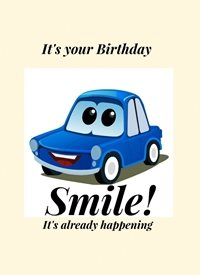 Birthday smile car z%a personalised online greeting card