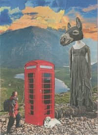 general Collage, phonebox, people, donkey, surreal, landscape, Everyday Art, General, abstract, congratulations, Thank you, birthday, friend,  personalised online greeting card