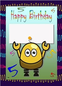 Her Nibs  Robot 5 Add your own Text  Birthday Robot Number 5 wavy lines Blue green yellow red orange pink purple happy  personalised online greeting card
