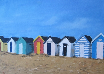 Art Beach Huts, Seaside, Coast, Suffolk, holidays, Southwold, Norfolk personalised online greeting card