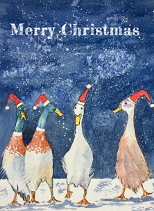 Watercolour ducks xmas personalised online greeting card
