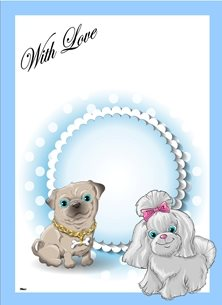general Dogs Bow Bone  Blue White Pink Happy  personalised online greeting card