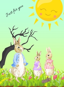 Rabbits,Tree,Sun, personalised online greeting card
