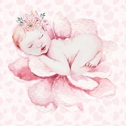 baby Girl, Newborn, Pink, Floral personalised online greeting card
