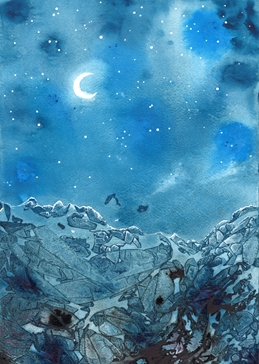art mountains, blue, rock, moon, night personalised online greeting card
