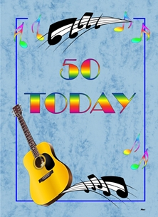 Birthday For-Him For-Her Guitar Musician Music Notes 50th Blue Black Yellow Red Orange Brown Green  personalised online greeting card