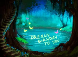 Birthday Dreamy Enchanted Forest Lake z%a personalised online greeting card