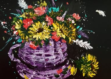 Kay Ashton Fine Art Storm In A Teacup (no border) art contemporary  sunflowers, oranges, whites, wicker basket, wicker, bouquet flowers, still life, impasto, palette knife, original, flowers, floral, bright, colourful, cheerful personalised online greeting card