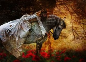 EJ Lazenby Fine Art They Sheltered Under The Great Oak Photography horse, princess, medieval, gothic, romantic, rider,   queen. equine, equestrian, pre raphaelite animals z%a personalised online greeting card
