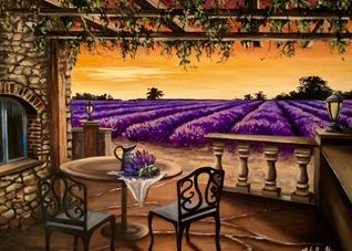 fineart lavender fields flowers  oils art blank general all occasions for-him for-her mums aunts sisters countryside floral herbs  Provence purple summer fineart vases tables chairs patios landscape France sunset  personalised online greeting card